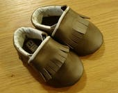 Custom Order for Marsha: dark brown leather fringed moccasins size 5/ 12-18 months
