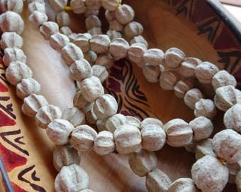 Fluted Mala Beads, Organic Seeds, EcoBeads, 10mm Beads Prayer Beads
