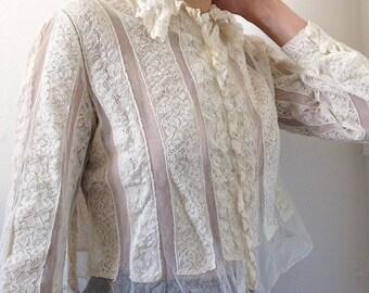 Antique Français des années 1900 fabuleuse dentelle et maille chemisier / blouse XS