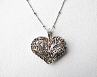 Heart Pendant Silver Filigree Puffy Heart Necklace Sterling Silver Valentine Filigree Heart Sterling Heart Silver Heart 925 Ball Chain