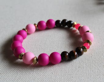 Neon Pink Rubber bead wooden bead stackable stretch bracelet, Beaded bracelets for Women
