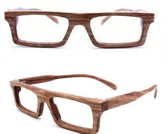 20% off SUMMER SALE MJX1201 handmade zebra wood eyeglasses with bamboo case and prescription lenses