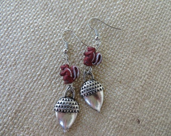 Clay Squirrel And Silver Toned Acorn Charm Earrings