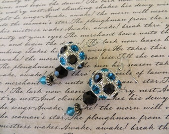 Chunky Teal And Black Crystal Studded Dangling Bead Earrings