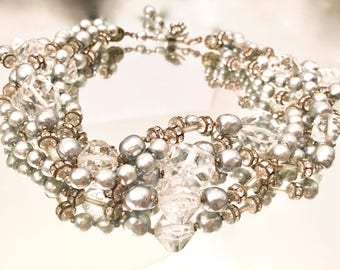 Miriam Haskell Vintage Jewelry 5 strand Necklace signed Baroque Pearls