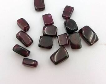 Smooth Garnet Beads, Garnet Beads, Natural Gemstone Beads, Smooth Square Garnet, Beads for Jewelry Making, Smooth Square Beads, Garnet