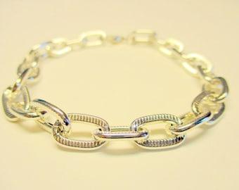 Chunky Silver Bracelet, Silver Chain Bracelet, Large Link Bracelet, Silver Jewelry Bracelet