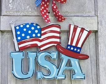 USA door hanger, USA sign, america door hanger, 4th of July door hanger, Patriotic Door Hanger, flag sign, july 4th, summer door hanger