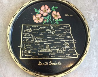 Vintage North Dakota State Souvenirs Tray