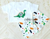 Boys Dinosaur Outfit, Boys Summer Outfit, Boys Monogram Outfit, Dinosaur Shorts, Applique Outfit, Toddler Boys Outfit, Dinosaur Shirt