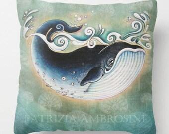"Pillow ...."""" The Blue Whale """" Print Art Pillow - woodland fine art -living room - childrens room - nursery - babies - """"PRINCE FROG """""