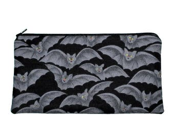 Gothic Halloween Bats Zipper Pouch Pencil Case Clutch Purse - Ready to Ship