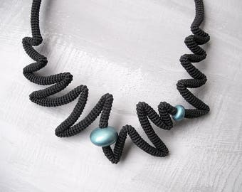 Black Cocktail Necklace, Zig Zag Statement Necklace Sharp Design, Irregular Pointed Crochet Tube Necklace Teal Accents