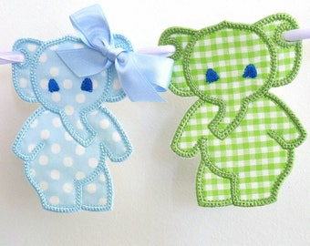 """Dancing Elephant Bunting In The Hoop Banner Project Machine Embroidery Design Applique Patterns in 4 sizes 4"""", 5"""", 6"""" and 7"""""""