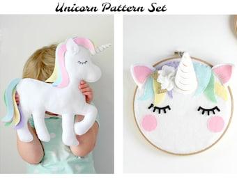 Unicorn Decor Patterns, Unicorn Party Toy, Felt Unicorn Pattern, Unicorn Hoop Art, Unicorn Pillow, Unicorn Cushion, Unicorn Softie Plushie