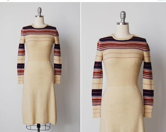 30% OFF SALE vintage 1970s dress / 70s knit dress / retro sweater dress / Rollerway dress