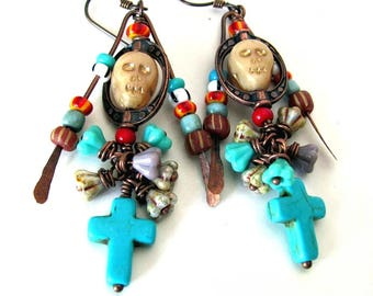 Dia De Los Muertos Day of the Dead jewelry Day of the Dead earrings with turquoise cross on hypoallergenic niobium ear wires