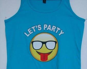 Emoji Lets Party Choose Womens Short Sleeve Long Sleeve  or Tank Top  21112HD4