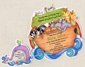 Reserved - Noah's Ark Invitations - Baby Shower Invitations - Announcements - - Noah's Ark Party - Handcut - Set of 40 and 40 thank yous