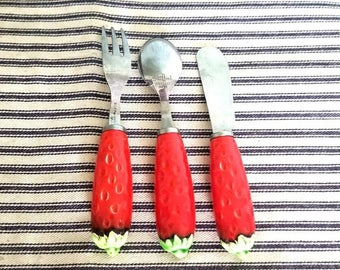 Yearly Big Sale: Vintage Shafford Strawberry Stainless and Ceramic Hors D'Oeuvres Set, Appetizer Fork, Spoon, Pate Knife