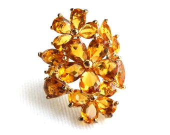 """Vintage Golden Orange Imperial Topaz Cocktail Ring - Glass Rhinestone Flower - Marquis & Pear Glass Stones - 1 1/2"""" High - Size 6 1/2"""