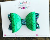 "Mermaid printed faux leather glitter 3.5"" Hair Bow Headband"