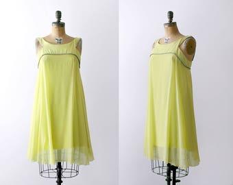 1960's green shift dress. lime. 60 chartreuse dress. crepe. chiffon. crystals. medium.
