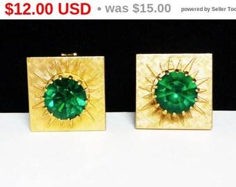 Spring Fling Sale Vintage Green Rhinestone Cuff Links - Goldtone Square Cufflinks - Men's Jewelry