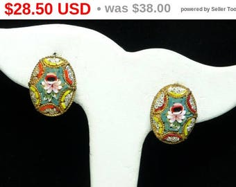 Vintage Italian Mosaic Earrings - Oval Clip on's - Rose Flower Design - Mid Century European Jewelry Signed