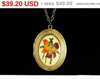Vintage Cloisonne Locket Pendant and Chain Necklace - Iris Flowers in Purple & Orange - Large Whiting Davis