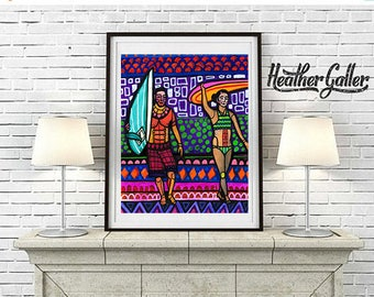 Hawaii Surfer Girl Guy Art Print Poster of Painting by Heather Galler Surfing Surfboard Beach Surf Art Honolulu Waikiki Beach