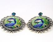 Peacock Earrings | Vintage Earrings | Silver Antique Pendant | Peacock Studs | Gift ideas | Vintage Studs | Bohemian Studs | Boho Jewelry