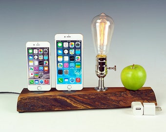 Live edge Walnut Dual docking station with lamp for iPhone 7, 7+, or ANY iPhone, Edison bulb dock lamp for any two iPhones.  USA. #771.