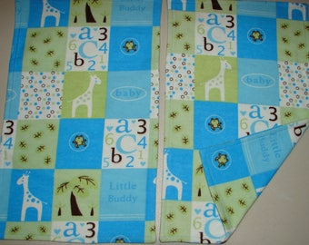 Flannel Burp Cloth Set, Set of Two Flannel Burp Cloths, Burp Cloth Set, New Baby Gift, Baby Shower Gift, Burp Cloths