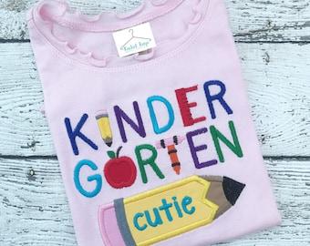 First day of school applique shirt for kindergarten girl back to school