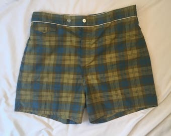 50s 60s vintage Swim Trunks Lined Plaid Mens Flat Front High Waisted Shorts 36 waist