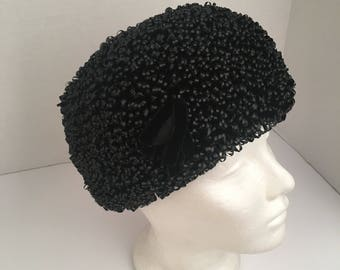 Mr. John Sophisticate black straw pillbox turban 40s 50s vintage elegant beehive ladies hat