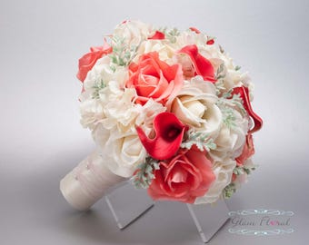 Silk Wedding Bouquet. Coral Guava Bridal Bouquet. Silk Wedding Flowers Real Touch Flowers Caroline Roses Callas Lilies Dusty Miller Greenery