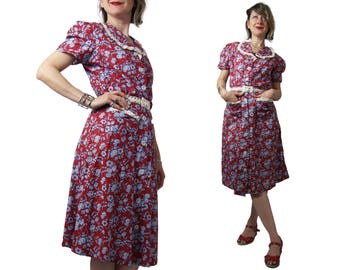 Late 1930s to Early 1940s Red and Blue Floral Cotton Day Dress w/ Eyelet Trim