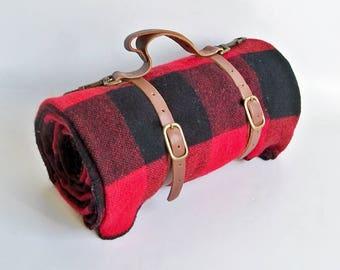 Vintage Marlboro Country Store Red & Black Plaid Wool Blanket, Picnic Blanket, Cowboy Blanket