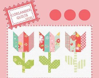 Mini Quilt Pattern - Mini Tulip Market Pattern - Charm Pack Quilt Pattern - Tulip Quilt Pattern - Free Shipping