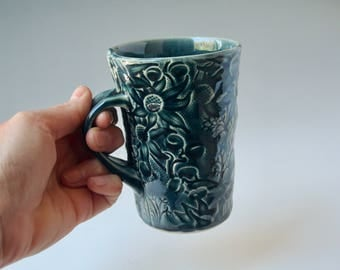 Dark Blue mug with Australian Flannel Flower design