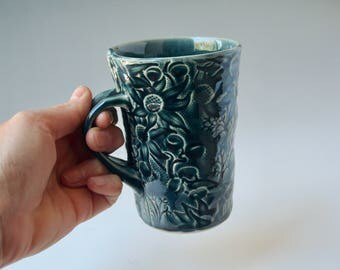 Dark Blue mug with Australian Flannel Flower design