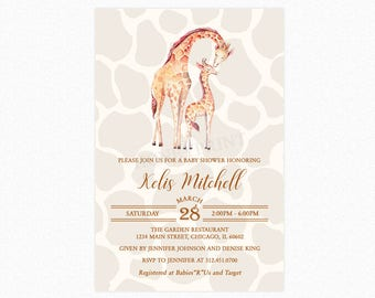 Giraffe Baby Shower Invitation, Mama Giraffe and Baby Giraffe, Personalized, Printable and Printed