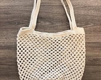 Large Crochet Market Bag   Cream