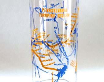Vintage 1950s Pennsylvania Turnpike System Map Cocktail Mixing Glass!