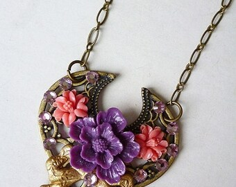 MEMORIAL DAY SALE Sale Bohemian Bouquet / Floral Assemblage Necklace with Antiqued Brass Filigree, Sakura Blossom, Coral Flowers, Gold Bow,
