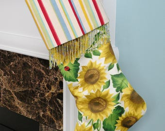 Handmade Bright Yellow Sunflowers Christmas Stocking with Striped Top and Green Blue Beaded Trim