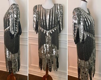 Sequined 80s does 20s party dress