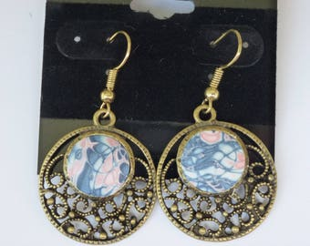 Polymer Clay Earring with antique bronze bezel